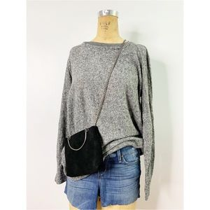 Zara Gray Ultra Soft Marled Mock Neck Pullover Top